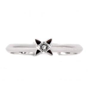 Anello solitario, montatura 4 griffes triangolari, oro e diamante