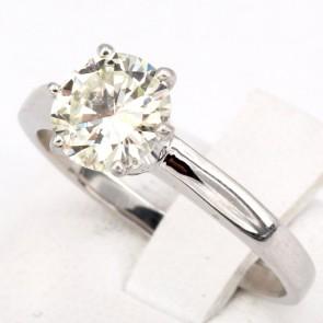 Anello solitario, montatura a 6 griffes, oro e diamante - 1.27 ct; 3.78 gr