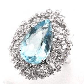 Anello maxi oro, goccia acquamarina - 10-12 ct - e diamanti - 1.60-1.80 ct; 9.59 gr
