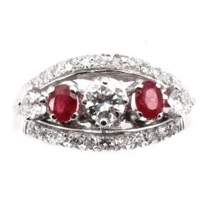 Anello fascia/riviera rubini e diamanti