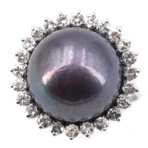 Anello maxi perla tahitiana, oro e diamanti;