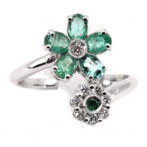 Anello contrariè doppio fiore oro, smeraldi -
