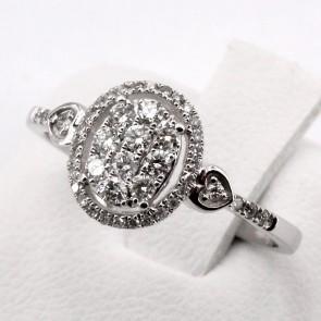 Anello toppa ovale oro e diamanti - 0.30 ct; 2.1 gr