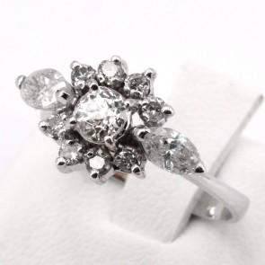 Anello vintage fiore oro e diamanti taglio navette e taglio antico - 1.10-1.30 ct ; 3.36 gr