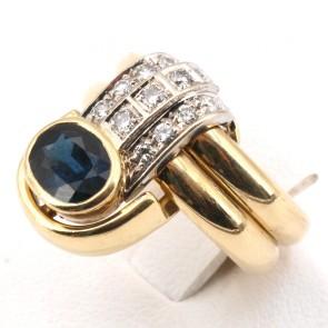 Anello doppia fede in stile oro, zaffiro - 2.00-2.50 ct e diamanti - 0.35-0.40 ct; 12.05 gr