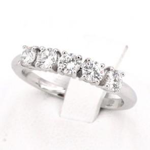Anello riviera oro e 5 diamanti -0.75 ct; 3 gr