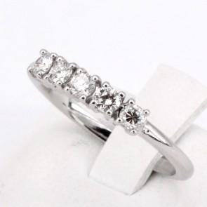 Anello riviera oro e 5 diamanti -0.40 ct; 2.82 gr