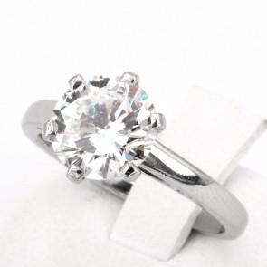 Anello solitario, montatura a 6 griffes, platino e diamante - 2.31 ct; 6.09 gr