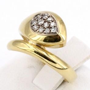 Anello serpente, oro giallo e diamanti - 0.18-0.20 ct; 3.95 gr