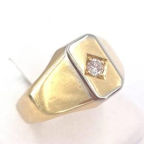 Anello fascia geometrica uomo oro e diamante - 0.06-0.08 ct; 8.49 gr