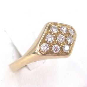Anello fascia rombo, oro e diamanti - 0.35-0.40 ct; 4.07 gr