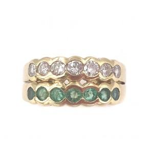 Anello fascia doppia riviera oro, smeraldi e diamanti
