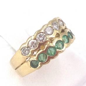 Anello fascia doppia riviera oro, smeraldi - 0.45-0.50 ct - e diamanti - 0.40-0.45 ct ; 5.4 gr