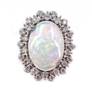 Anello, oro, maxi margherita opale e diamanti