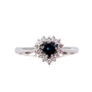 Anello oro cuore zaffiro e diamanti