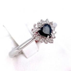 Anello oro cuore zaffiro - 0.45 ct- e diamanti - 0.26 ct; 2.53 gr