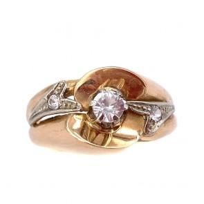 Anello in stile, vintage oro e zircone