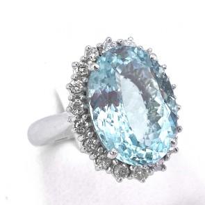 Anello maxi margherita oro,  acquamarina - 8.5-9 ct - e diamanti - 0.90-0.95 ct; 8.44 gr
