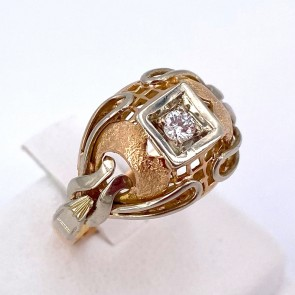 Anello in stile, vintage oro e diamante -0.09 ct; 4.84 gr