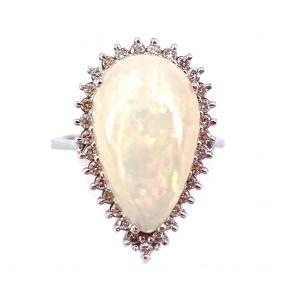 Anello, oro, maxi goccia opale