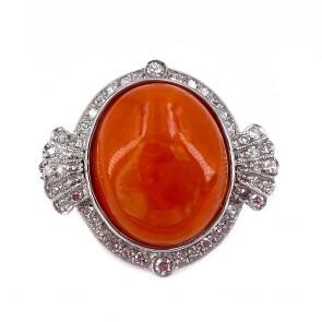 Anello, oro, maxi ovale opale di fuoco