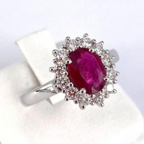 Anello margherita oro rubino - 1.22 ct- e diamanti - 0.49 ct; 5.5 gr