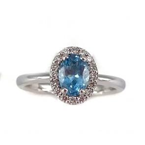 Anello margherita oro, ovale acquamarina - 0.90 ct - e diamanti