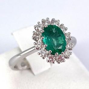 Anello margherita oro, smeraldo - 1.05 ct - e diamanti - 0.46 ct ; 3.74 gr