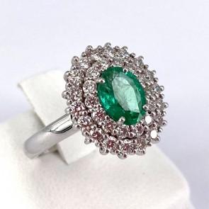 Anello margherita oro, smeraldo - 0.82 ct - e doppio giro di diamanti - 0.82 ct ; 6.65 gr