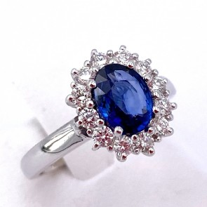 Anello margherita oro, zaffiro - 1.11 ct - e diamanti - 0.50 ct ; 5.35 gr
