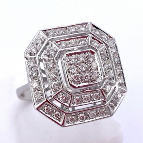 Anello maxi geometrico in oro e diamanti -0.85-0.95 ct; 7.79 gr