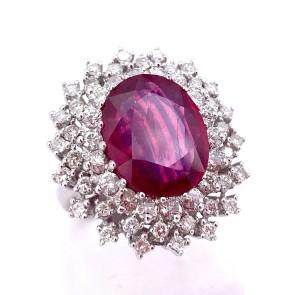Anello maxi margherita oro rubino - 13 ct- e diamanti - 2.20 ct; 11.31 gr