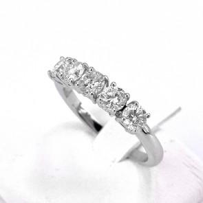 Anello riviera oro e 5 diamanti -1.00 ct; 3.26 gr