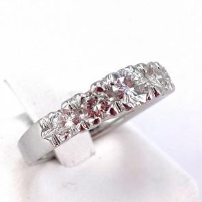 Anello riviera oro e 5 diamanti -1.00-1.10 ct; 5.08 gr