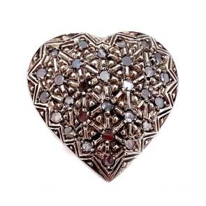 Anello toppa a cuore in stile oro, argento e diamanti