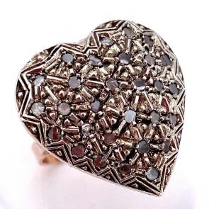 Anello toppa a cuore in stile oro, argento e diamanti - 9.6 gr
