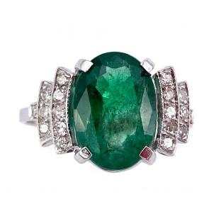 Anello oro, smeraldo e diamanti