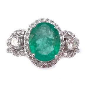 Anello capolavoro fascia e margherita oro, smeraldo