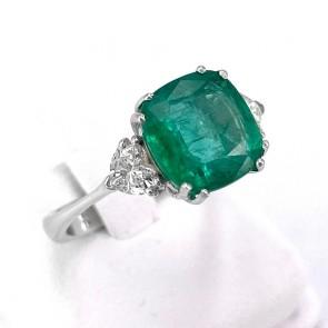 Anello oro, smeraldo - 3.66 ct - e diamanti - 0.66 ct; 5.07 gr