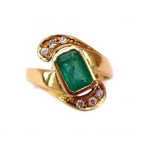 Anello oro, smeraldo - 2.5-3.0 ct - e diamanti