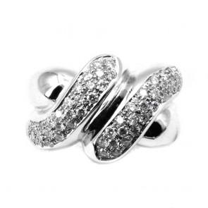Anello maxi fascia nodo in oro e diamanti