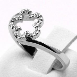 Anello fiore oro e diamanti - 0.08 ct; 3.65 gr