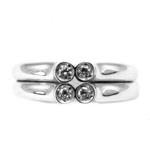 Anello doppia fascia oro e 4 diamanti