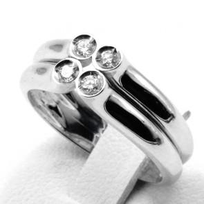 Anello doppia fascia oro e 4 diamanti - 0.24 ct; 5.55 gr