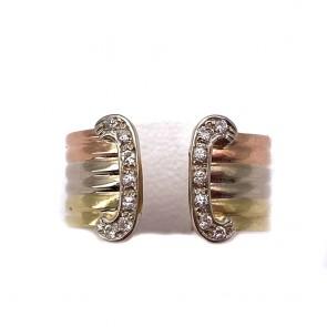 Anello fascia tricolore, doppia C, oro e diamanti