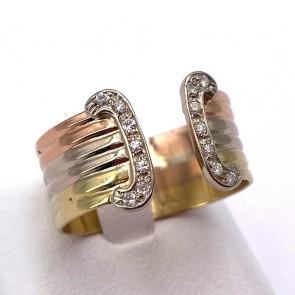 Anello fascia tricolore, doppia C, oro e diamanti - 0.08 ct; 5.1 gr