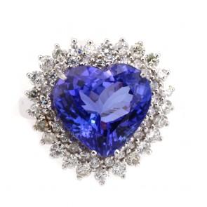 Anello oro, cuore tanzanite e diamanti