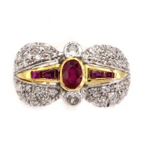 Anello fiocco in stile oro, rubini