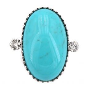 Anello in stile oro, maxi turchese e diamanti
