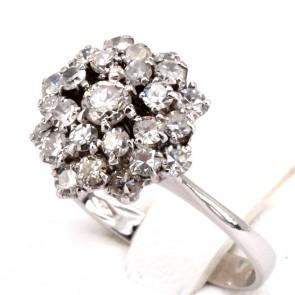 Anello in stile fiore oro e diamanti  - 1.0-1.1 ct ; 4.2 gr